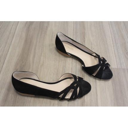 Sandales plates noir nubuck