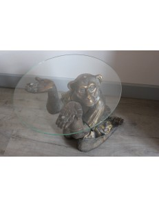 "table basse ""singe"" plateau verre"