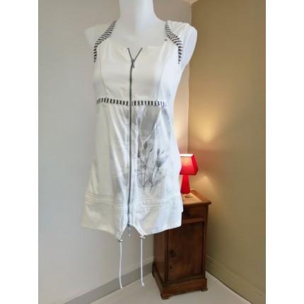 Robe Tunique Blanche Imprime Gris