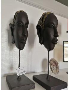 2 têtes africaines sur socle
