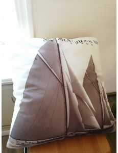 """Coussin """"voile"""" blanc et taupe"""