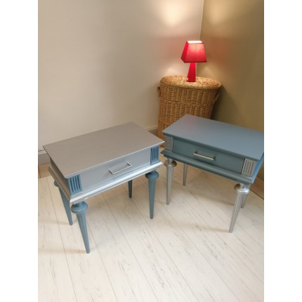 Lot 2 tables de chevet bleu et argent inversé