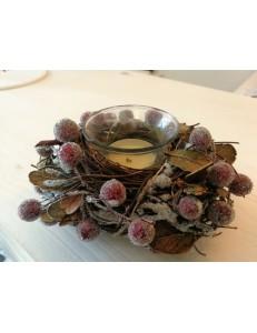 """Bougeoir """"nid"""" perles rose"""