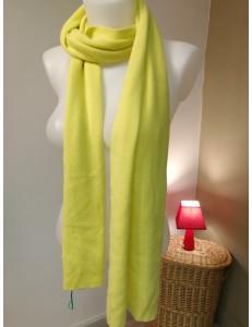 Echarpe laine et angora jaune anis