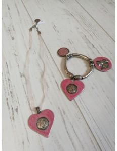 Ensemble colier et bracelet coeur rose