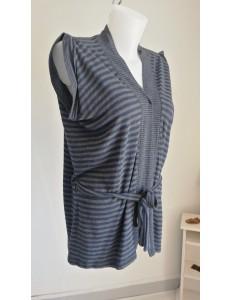 Veste longue rayée bleu et gris
