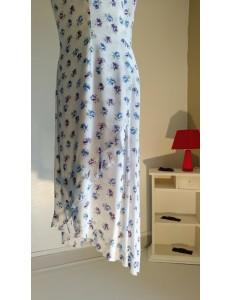 Robe longue bleu ciel fleurs imprimées