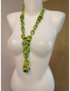 Sautoir anneaux en perles vertes