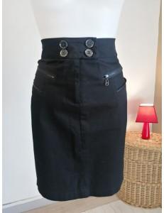 Jupe noire zip haut et poches