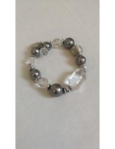 Bracelet perles grises et transparentes