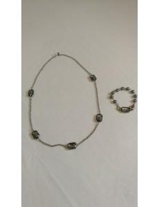 Ensemble collier bracelet grosses pierres carrées