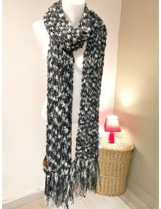 Echarpe longue gris/argent/noir
