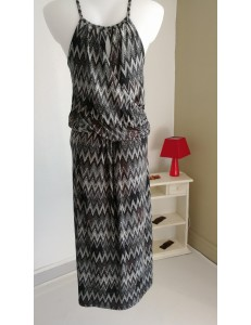 Robe longue chevrons noir et gris