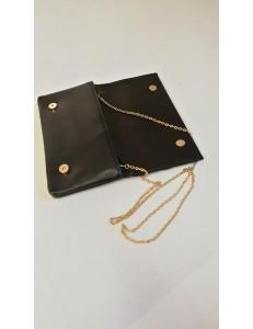 Pochette noire strass et chainette dorée