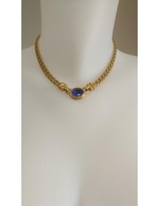Collier chainette dorée 1 pierre bleue