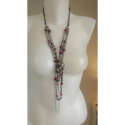 Sautoir chainette bronze et perles violines
