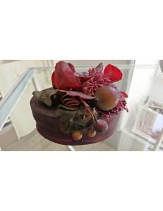 Boite bois ovale fruits dessus