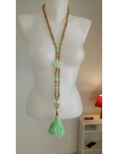 Sautoir perles bois verte marron pompon