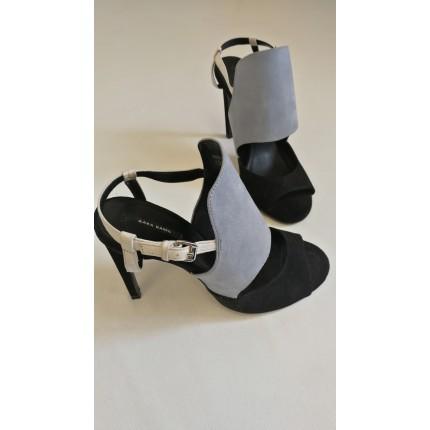 Sandales noires et grises nubuck
