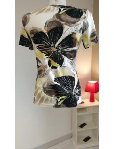 Tee shirt blanc imprimé fleurs noire / jaune